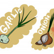 Stock Vector: Onion and garlic