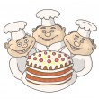 Three gay chef - Stock Vector
