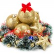 Foto Stock: Golden Christmas tree balls and Wreath