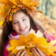 Stock Photo: Girl in a wreath of maple leaves with autumn bouquet