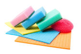 Dish washing sponge, dishcloth and scrub pad, isolated — Stock Photo