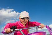 Little girl on bicycle — Stock Photo