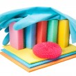 Dish washing sponge, dishcloth, rubber gloves and scrub pad, iso - Stock Photo