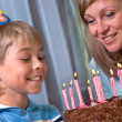 Boy in his birthday, mum and son — Stock Photo #1437034