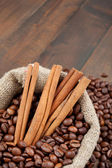 Sack with coffee beans — Stock Photo