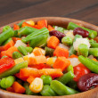 Photo: Mixed vegetables in wooden bowl