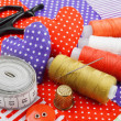 Handicraft hearts, textile fabric materials and items for sewing — Stock Photo #18352851
