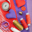 Handicraft hearts, textile fabric materials and items for sewing — Stock Photo #18360203