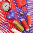 Handicraft hearts, textile fabric materials and items for sewing — Stock Photo