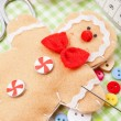 Sewing set and handmade gingerbread man from textile — Foto de Stock