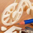 Wooden bicycle toy - woodcraft construction kit — Stock Photo