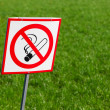 No smoking sign on green grass background — Stock Photo