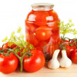 Fresh and canned tomatoes — Stock Photo