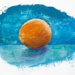 Orange on blue background, oil painting — 图库照片