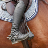 Close up of jockey riding boot, horses saddle and stirrup — Stock Photo