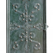 Part of decorated door with wrought iron — Stock Photo #31650481
