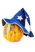 Halloween pumpkin with blue witch hat — Stock Photo