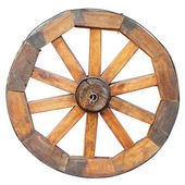 Wooden wheel, isolated on white — Stock Photo