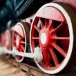 Steam locomotive wheels close up — Stock Photo