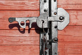 Closeup of a vintage wooden latch on a building — Stock Photo