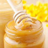 Jars of honey, wooden drizzler and yellow blossom twig — Stock Photo