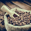 Stock Photo: Vintage stylized photo of sack with coffee beans