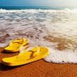 Slippers on a sandy beach — Stock Photo #40707141