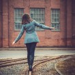 Girl on the railway — Stock fotografie