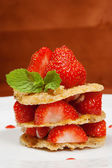 Waffles with Strawberries and  mint leaf — Foto de Stock