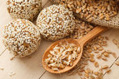 Macrobiotic healthy food: balls from ground wheat sprouts with s — Stock Photo