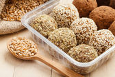 Macrobiotic healthy food. Balls from ground wheat sprouts — Stock Photo