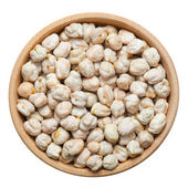 Chick peas in wooden bowl, isolated on white — Foto de Stock