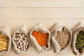Hessian bags with cereal grains — Stock Photo