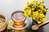 Healthy tea in glass cup closeup, bucket with coltsfoot flowers  — Stock Photo