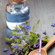 Blue essential oil in glass bottle, wooden spoon and healing flo — Stock Photo #46622219