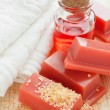 Wax for hair removal, towel and roses oil — Stock Photo #47417629