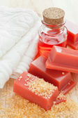 Wax for hair removal, towel and roses oil — Stockfoto