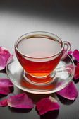 Herbal tea with rose petals  — Stock Photo