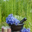 Mortar with blue cornflowers and sage, herbal medicine — Stock Photo #49213545
