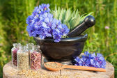 Black mortar with blue cornflowers, sage, wooden spoon and glass — Stock Photo