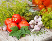 Vegetables and spices on wooden plank. Homemade canned tomatoes  — Stock Photo