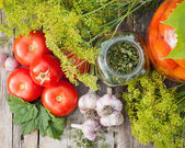 Homemade canned tomatoes in glass jar. Fresh vegetables and spic — Stock Photo