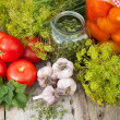 Homemade canned tomatoes in glass jar. Fresh vegetables, dill an — Stock Photo