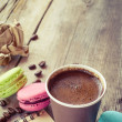 Macaroons, espresso coffee cup and sketch book on wooden rustic  — Stock Photo #51453419