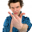 Upset man giving middle finger — Stock Photo