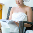 Close-up portrait smiling  young pretty woman with towel hat  se — Stock Photo #46253395