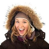 Close up portrait of one happy frozen  woman in winter coat — Stock Photo