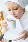 Close-up portrait of Young Smiling woman with the cap of coffee — Stock Photo