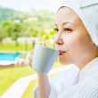 Close-up portrait of Pretty asian Young woman in the towel hat w — Stock Photo #46491509
