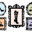 Shoe silhouettes in antique frames, vector set — Stock vektor